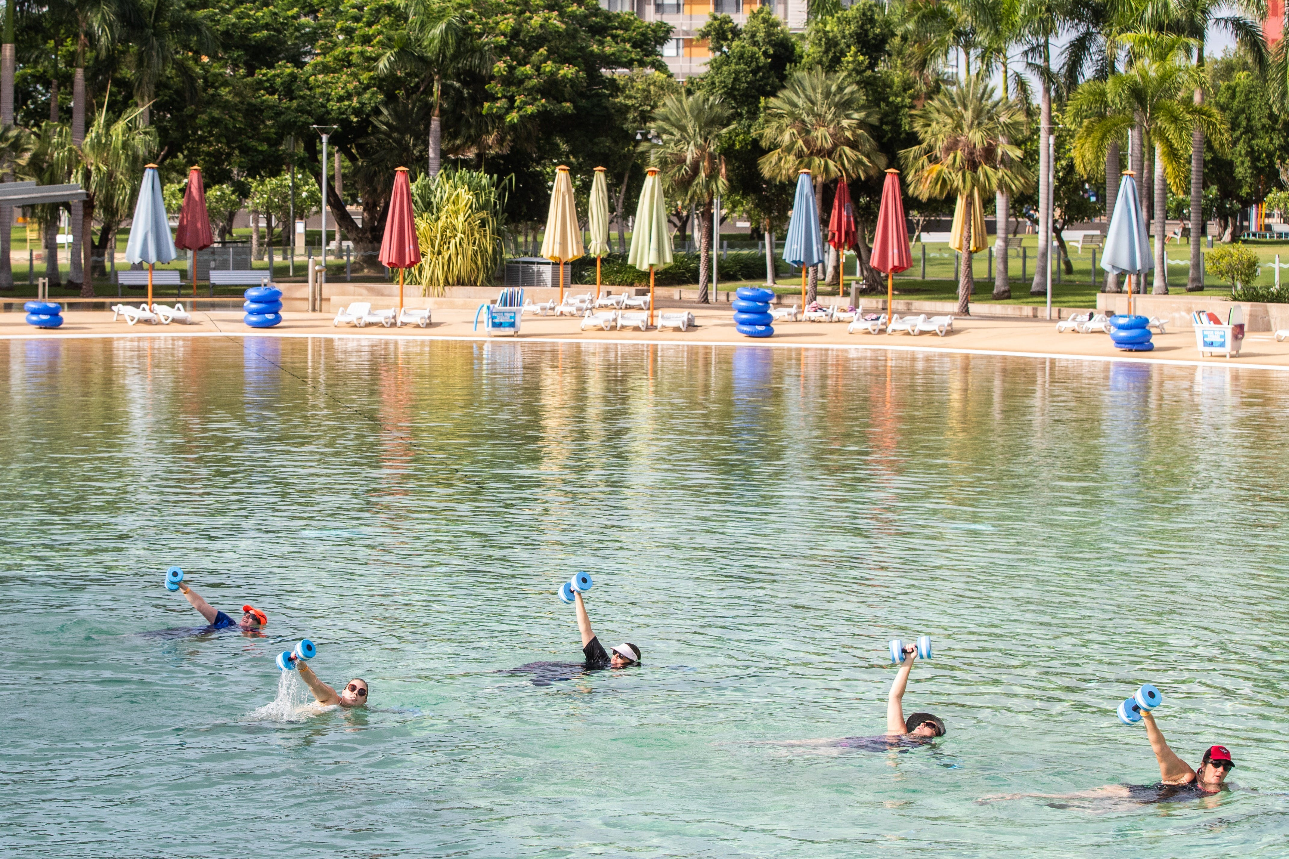 Aqua fitness in the Wave Lagoon - Accommodation Mermaid Beach