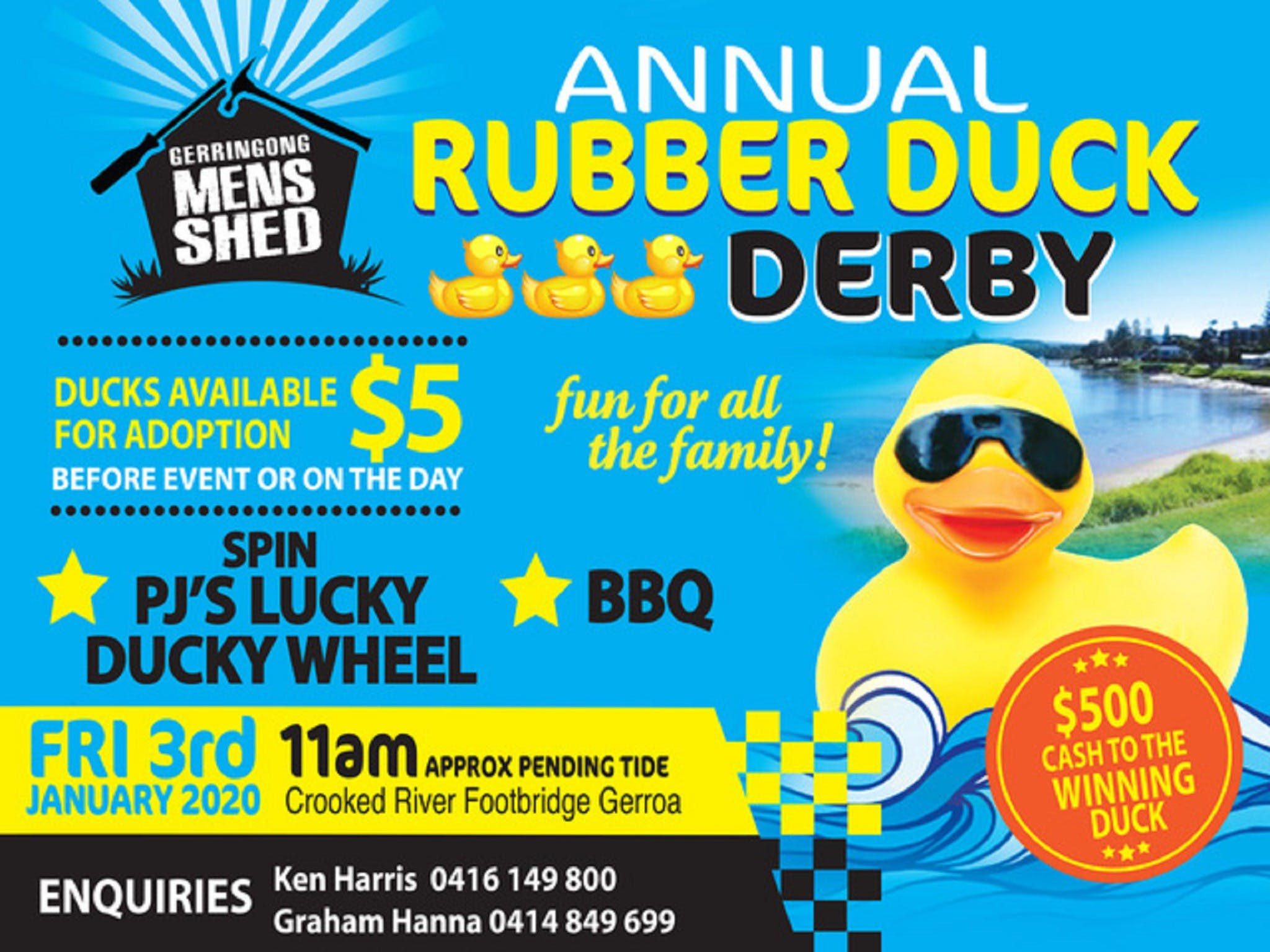 Gerringong Mens Shed Annual Duck Derby - Accommodation Mermaid Beach